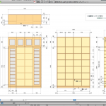 オーダー家具~ 造り付け書棚の図面が4枚