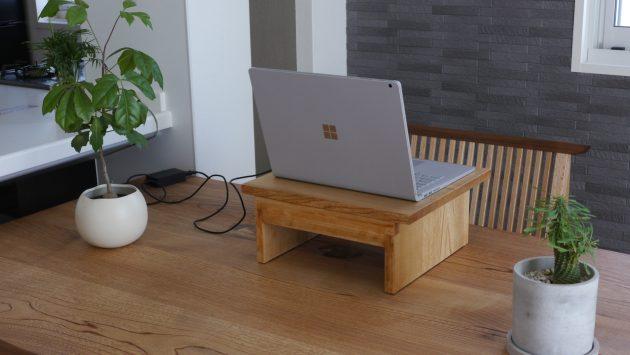木の卓上パソコン台 栓